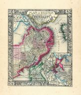 Boston, Charlestown, East Cambridge, World Atlas 1864 Mitchells New General Atlas